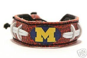 CLASSIC FOOTBALL LEATHER BRACELET MICHIGAN WOLVERINES