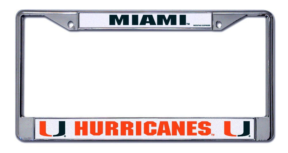 MIAMI HURRICANES CAR AUTO CHROME METAL LICENSE PLATE TAG FRAME