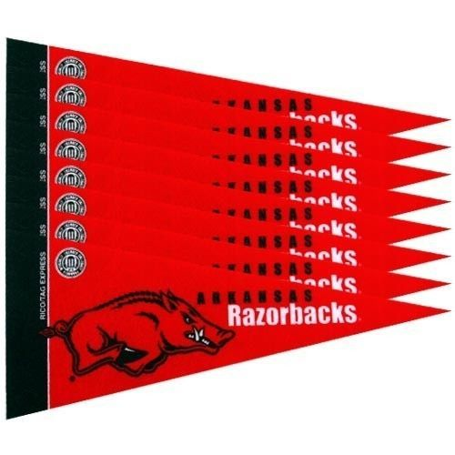 ARKANSAS RAZORBACKS 8 PIECE MINI PENNANTS SET of FELT TEAM LOGO & COLORS