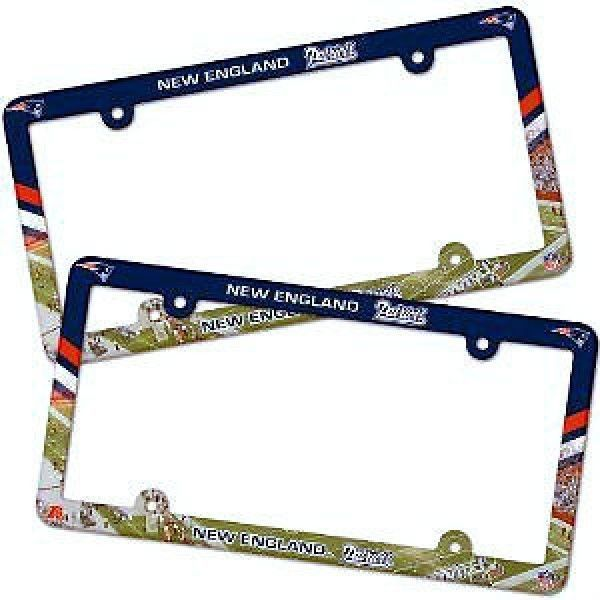 2 NEW ENGLAND PATRIOTS COLOR CAR PLASTIC LICENSE PLATE TAG FRAME NFL FOOTBALL