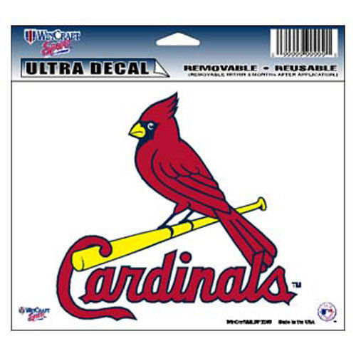 "ST LOUIS CARDINALS MLB BASEBALL ULTRA DECAL TEAM LOGO 5""X6"" CLEAR WINDOW FILM"