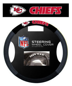 KANSAS CITY CHIEFS MESH SUEDE CAR STEERING WHEEL COVER NFL FOOTBALL