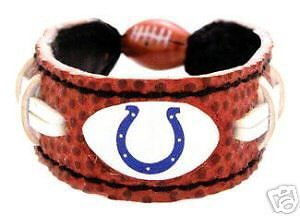 FOOTBALL LEATHER LACES BRACELET INDIANAPOLIS COLTS NFL