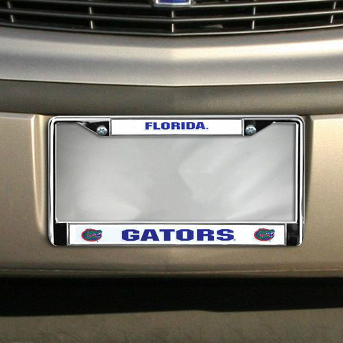FLORIDA GATORS CAR AUTO CHROME METAL LICENSE PLATE TAG FRAME