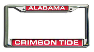 ALABAMA CRIMSON TIDE LASER MIRROR CHROME LICENSE FRAME