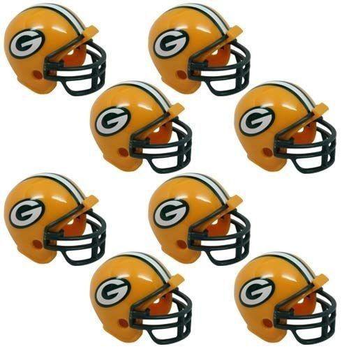 GREEN BAY PACKERS 8 PARTY PACK NFL FOOTBALL HELMETS