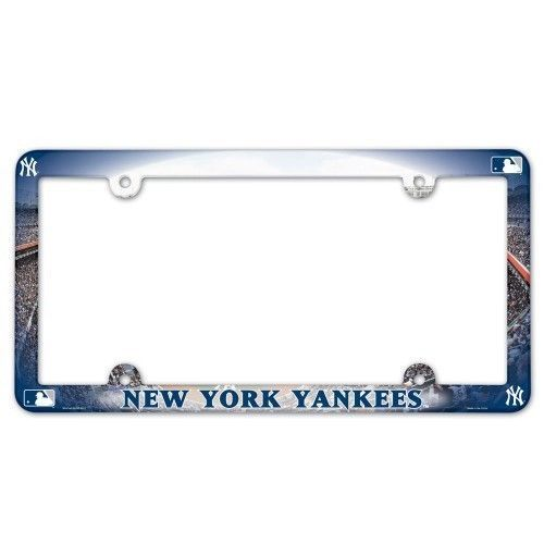 2 NEW YORK YANKEES COLOR CAR AUTO PLASTIC LICENSE PLATE TAG FRAME MLB BASEBALL