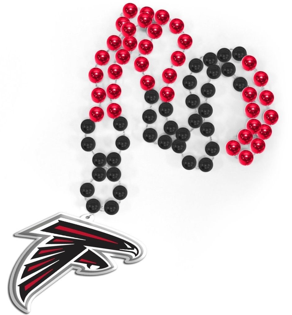 ATLANTA FALCONS MARDI GRAS BEADS with MEDALLION NECKLACE NFL FOOTBALL