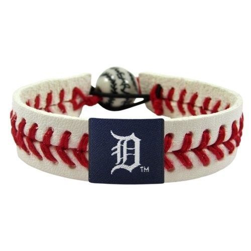 DETROIT TIGERS MLB BASEBALL CLASSIC RED SEAMS LEATHER LACES BRACELET