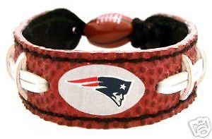 CLASSIC FOOTBALL LEATHER BRACELET NEW ENGLAND PATRIOTS