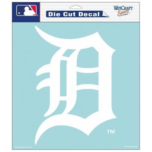 "DETROIT TIGERS 8"" X 8"" CLEAR FILM WHITE LOGO DIE CUT DECAL MLB BASEBALL"