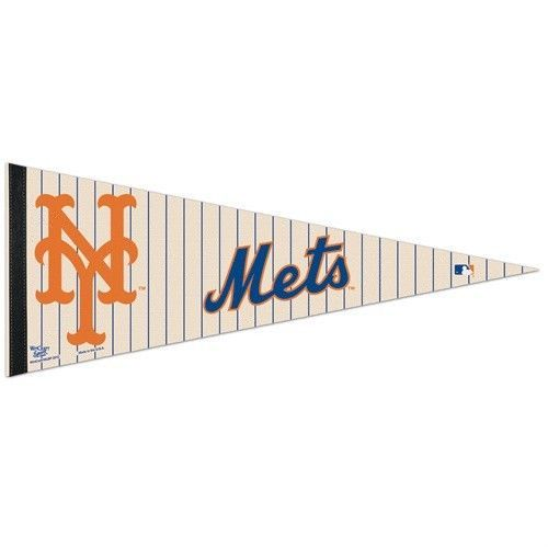 "*Ships FLAT* NEW YORK METS TEAM FELT PENNANT 12"" x 30"" MLB BASEBALL"