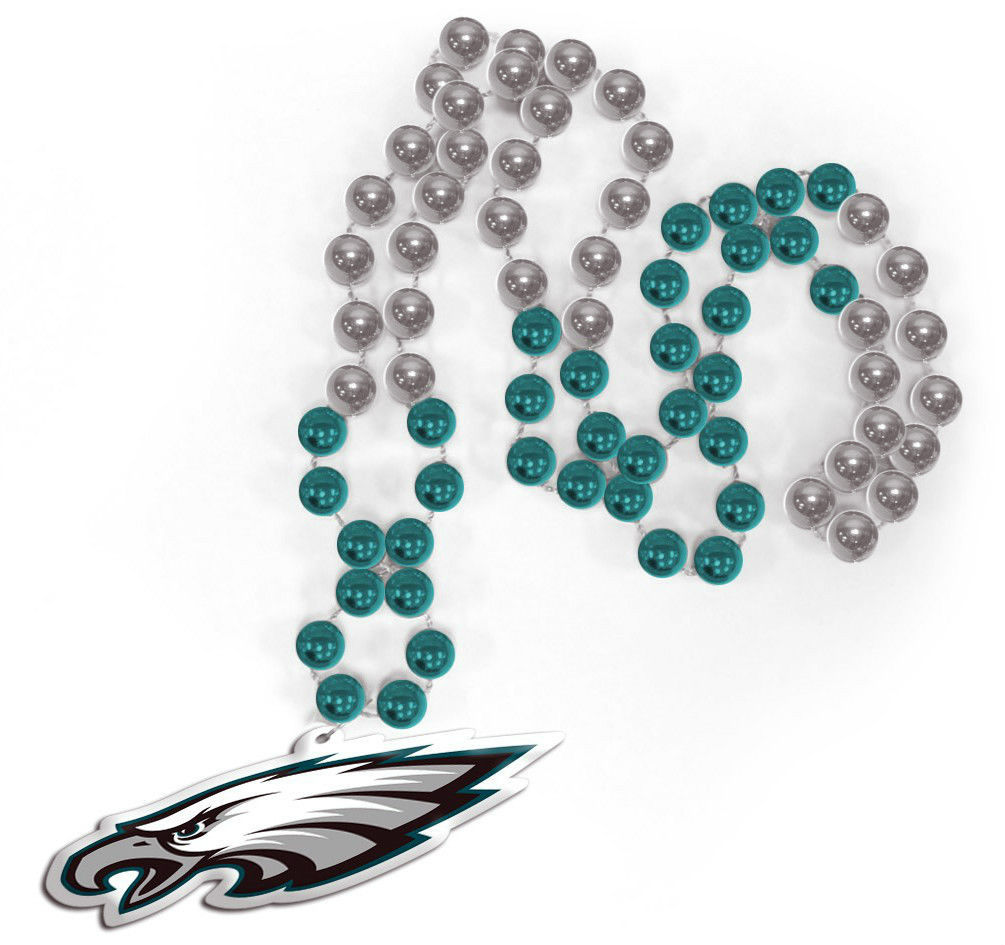 PHILADELPHIA EAGLES MARDI GRAS BEADS with MEDALLION NECKLACE NFL FOOTBALL