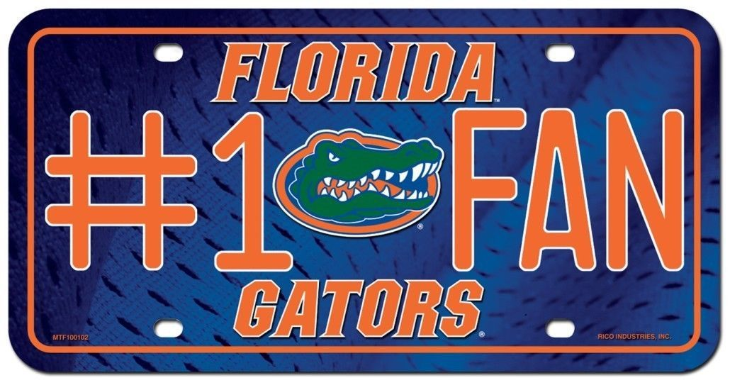 FLORIDA GATORS #1 FAN CAR / AUTO METAL LICENSE PLATE TAG