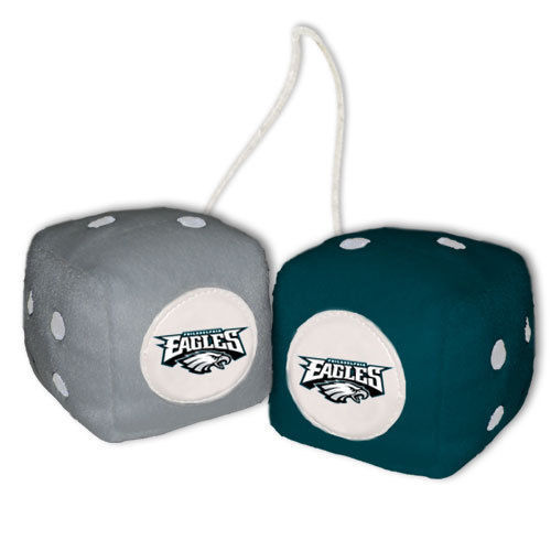 PHILADELPHIA EAGLES PLUSH FUZZY DICE CAR MIRROR DANGLER NFL FOOTBALL