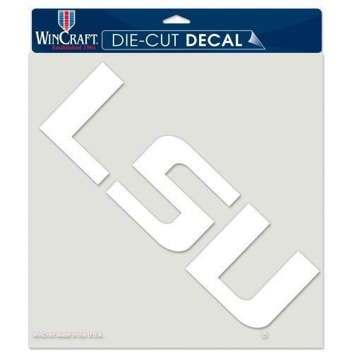 "LSU TIGERS 8"" X 8"" CLEAR FILM DIE CUT DECAL WHITE LOGO NCAA #1"