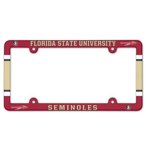 2 FLORIDA STATE SEMINOLES COLOR CAR AUTO PLASTIC LICENSE PLATE TAG FRAME NCAA