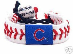 CHICAGO CUBS LEATHER BASEBALL SEAM BRACELET MLB