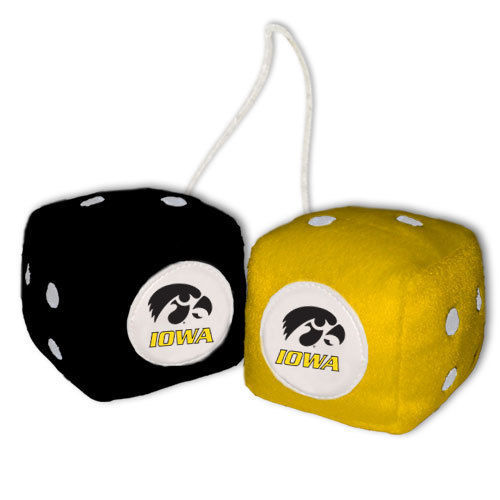 IOWA HAWKEYES PLUSH FUZZY DICE CAR MIRROR DANGLER NCCA COLLEGE