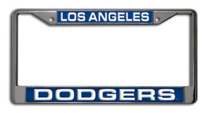 LOS ANGELES DODGERS LASER MIRROR CHROME LICENSE PLATE FRAME MLB BASEBALL