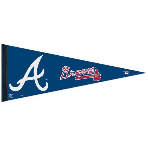 "BIG ATLANTA BRAVES TEAM FELT PENNANT 12""X30"" MLB BASEBALL SHIPS FLAT"
