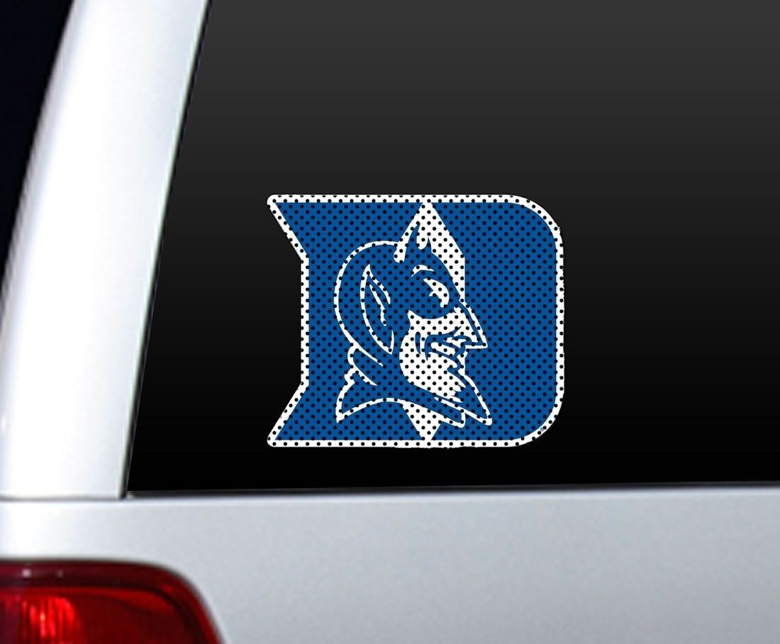 "*BIG* 12"" DUKE BLUE DEVILS CAR HOME PERFORATED WINDOW FILM DECAL"
