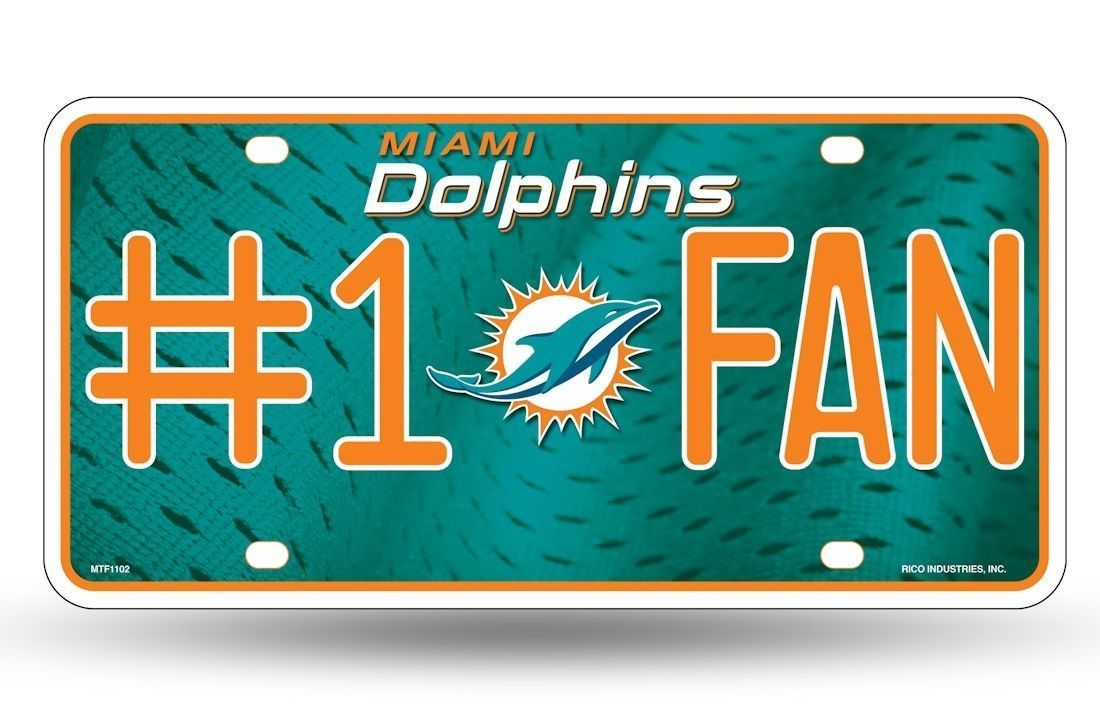 MIAMI DOLPHINS #1 FAN CAR AUTO METAL LICENSE PLATE TAG NFL FOOTBALL