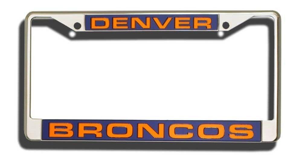DENVER BRONCOS CAR LASER MIRROR CHROME LICENSE PLATE TAG FRAME NFL FOOTBALL