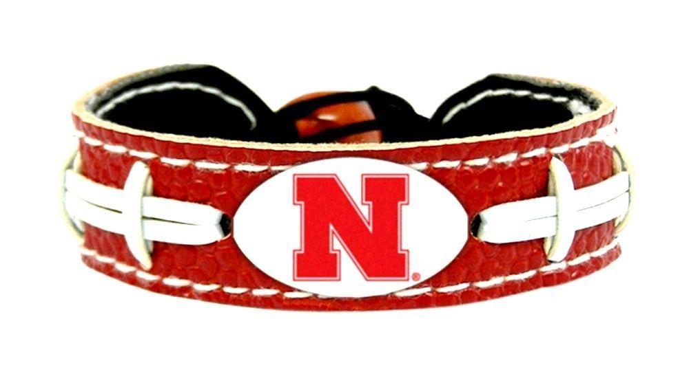NEBRASKA HUSKERS COLOR FOOTBALL LEATHER LACES CLASSIC BRACELET NCAA
