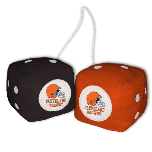 CLEVELAND BROWNS PLUSH FUZZY DICE CAR MIRROR DANGLER NFL FOOTBALL