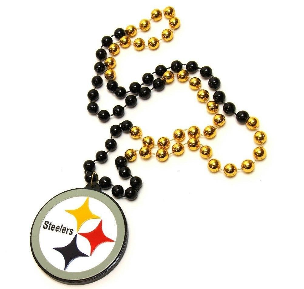 PITTSBURGH STEELERS MARDI GRAS BEADS with MEDALLION NECKLACE NFL FOOTBALL