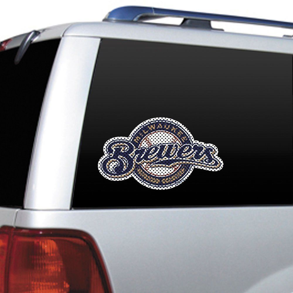 "BIG 12"" MILWAUKEE BREWERS CAR HOUSE PERFORATED WINDOW FILM DECAL MLB BASEBALL"
