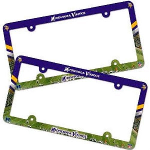 2 MINNESOTA VIKINGS COLOR CAR PLASTIC LICENSE PLATE TAG FRAME NFL FOOTBALL
