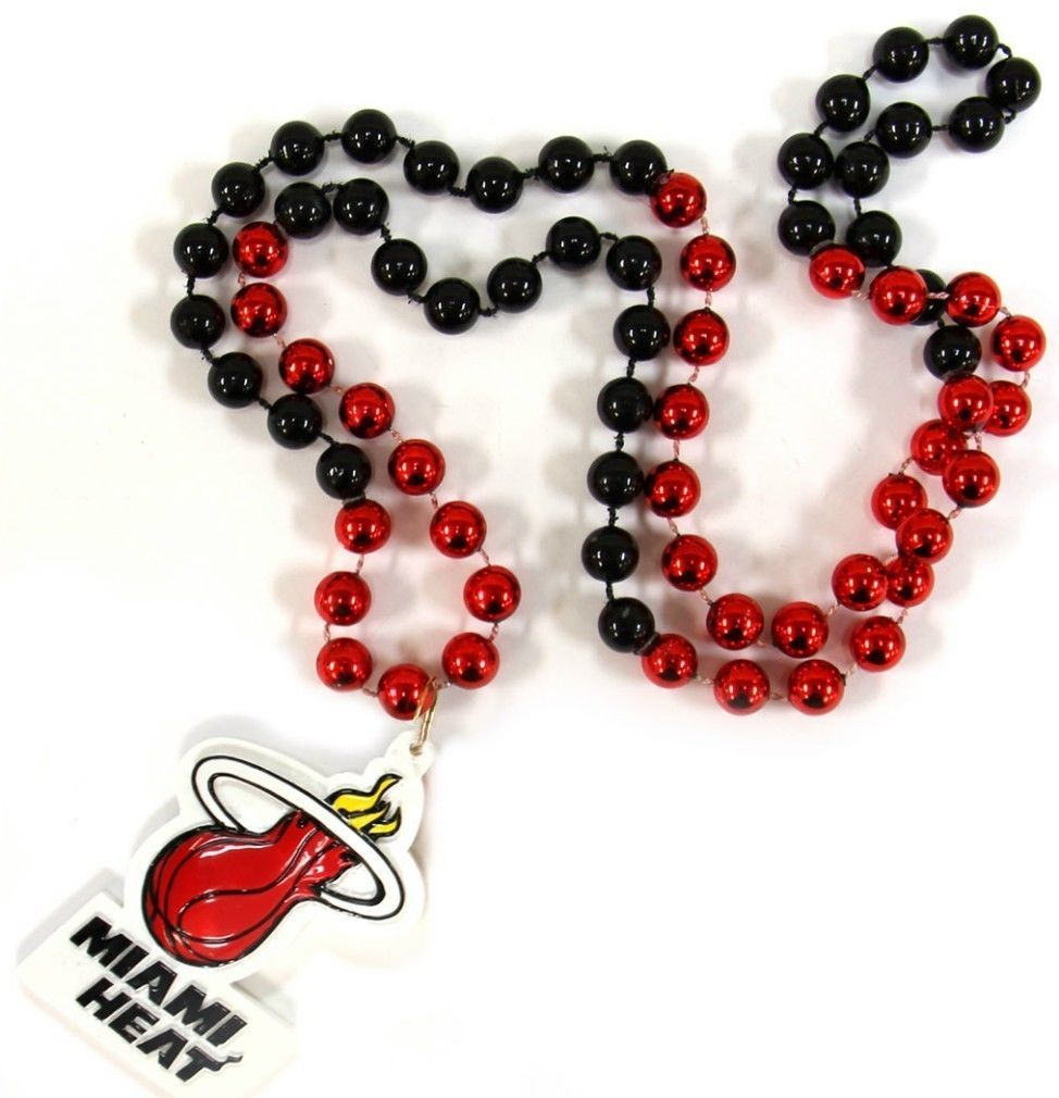 MIAMI HEAT MARDI GRAS BEADS with MEDALLION NECKLACE NBA BASKETBALL