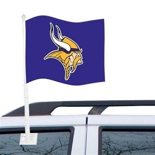 MINNESOTA VIKINGS CAR AUTO FLAG BANNER & POLE 2 SIDED NFL FOOTBALL