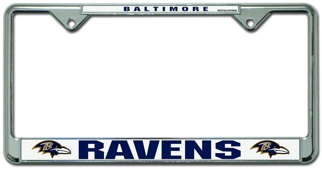 BALTIMORE RAVENS CAR AUTO CHROME METAL LICENSE PLATE TAG FRAME NFL FOOTBALL