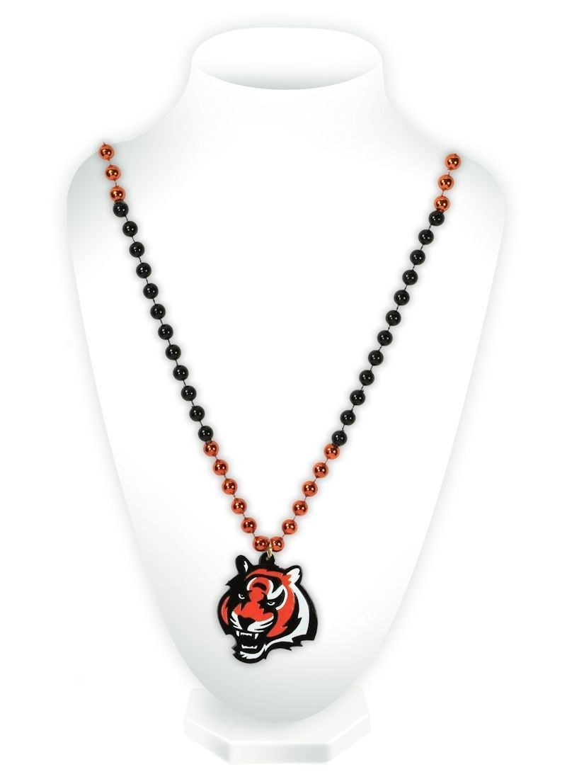 CINCINNATI BENGALS MARDI GRAS BEADS with MEDALLION NECKLACE NFL FOOTBALL #1