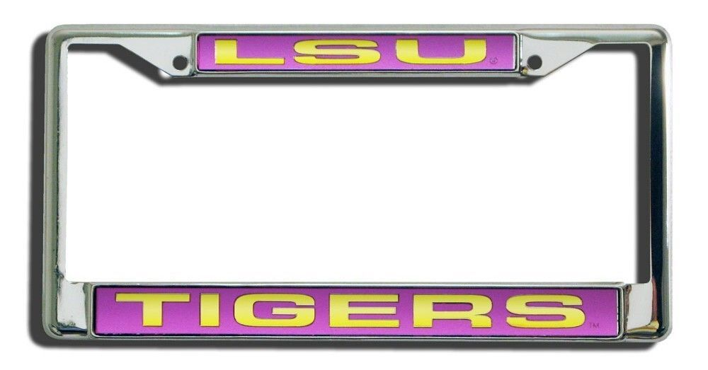 LSU TIGERS CAR AUTO LASER CUT ENGRAVED (MIRROR) CHROME METAL LICENSE PLATE FRAME