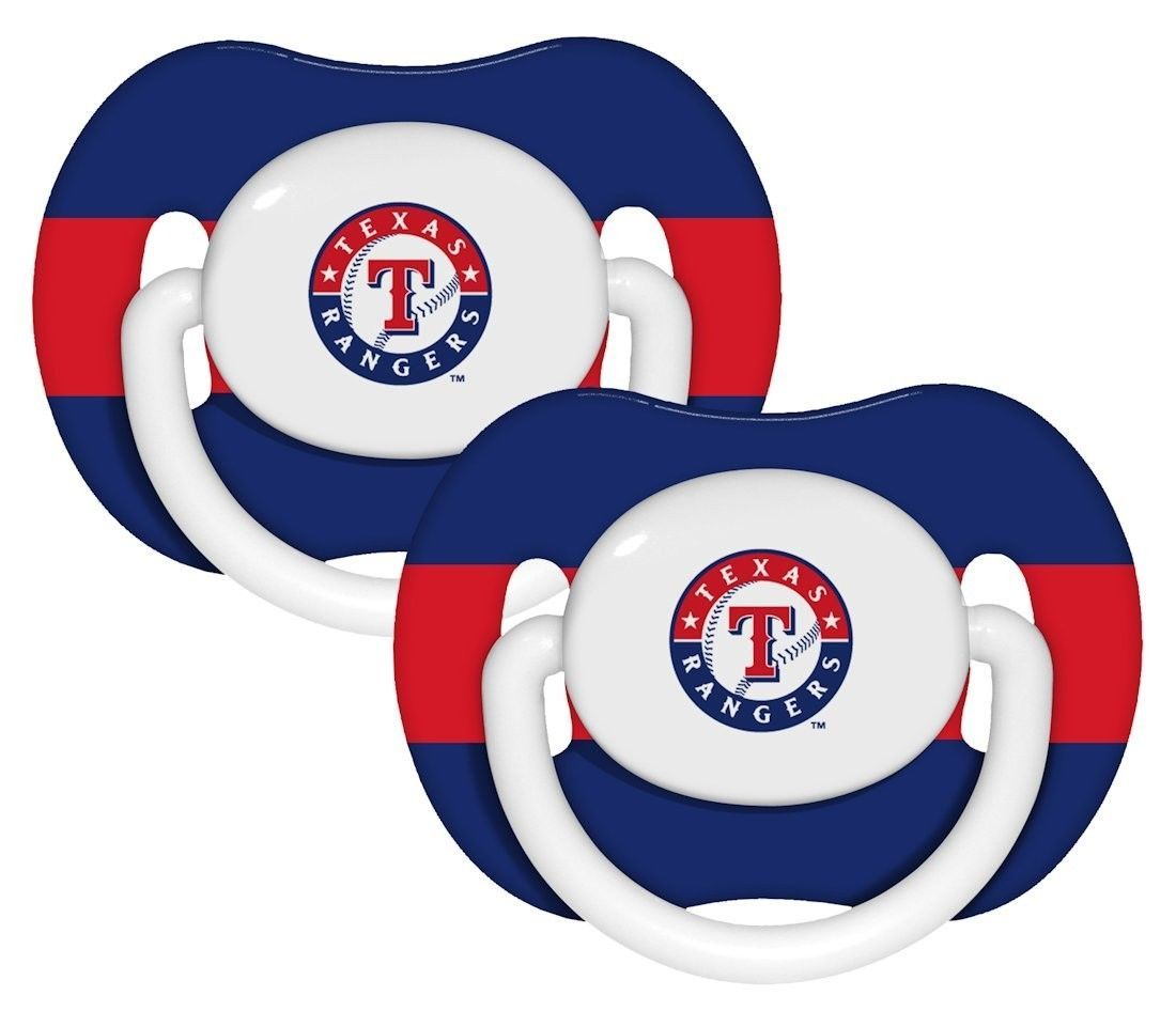 TEXAS RANGERS 2-PACK BABY INFANT PACIFIERS SET MLB BASEBALL