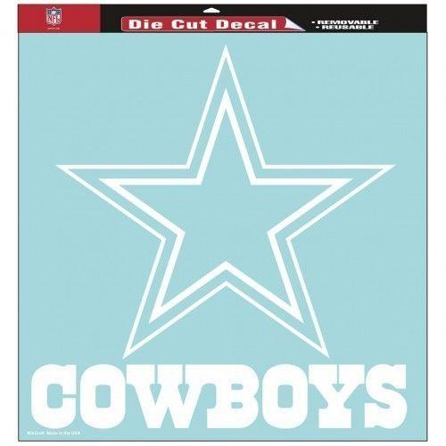 "DALLAS COWBOYS 8"" X 8"" CLEAR FILM DIE CUT DECAL WHITE LOGO NFL FOOTBALL #1"