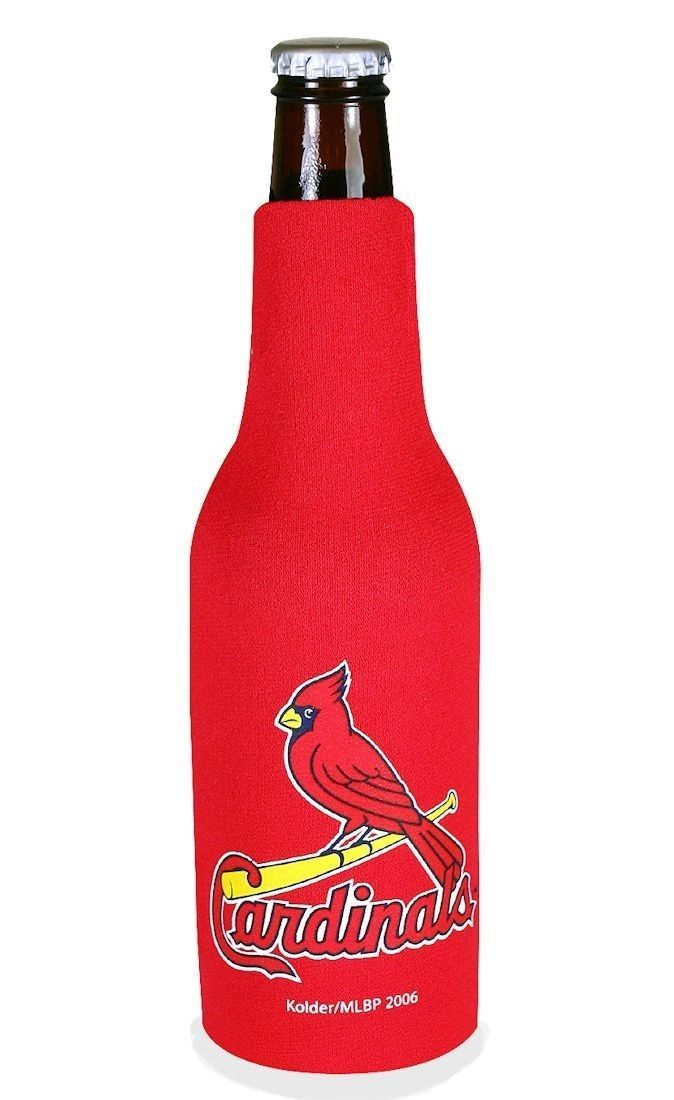 ST. LOUIS CARDINALS BEER SODA WATER BOTTLE ZIPPER KOOZIE HOLDER MLB BASEBALL