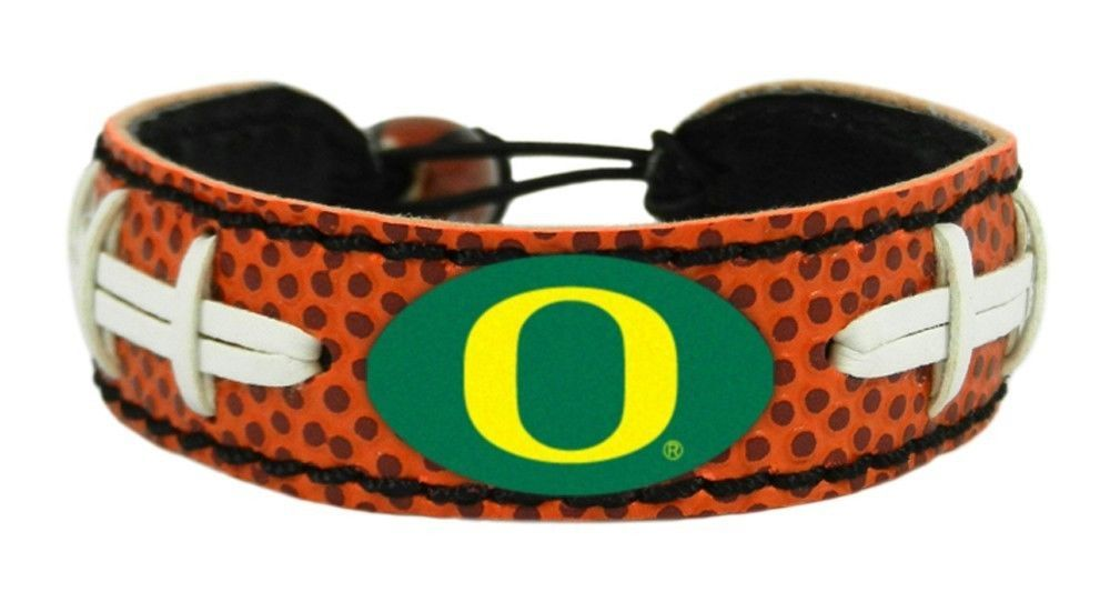 OREGON DUCKS LEATHER FOOTBALL LACES CLASSIC BRACELET NCAA