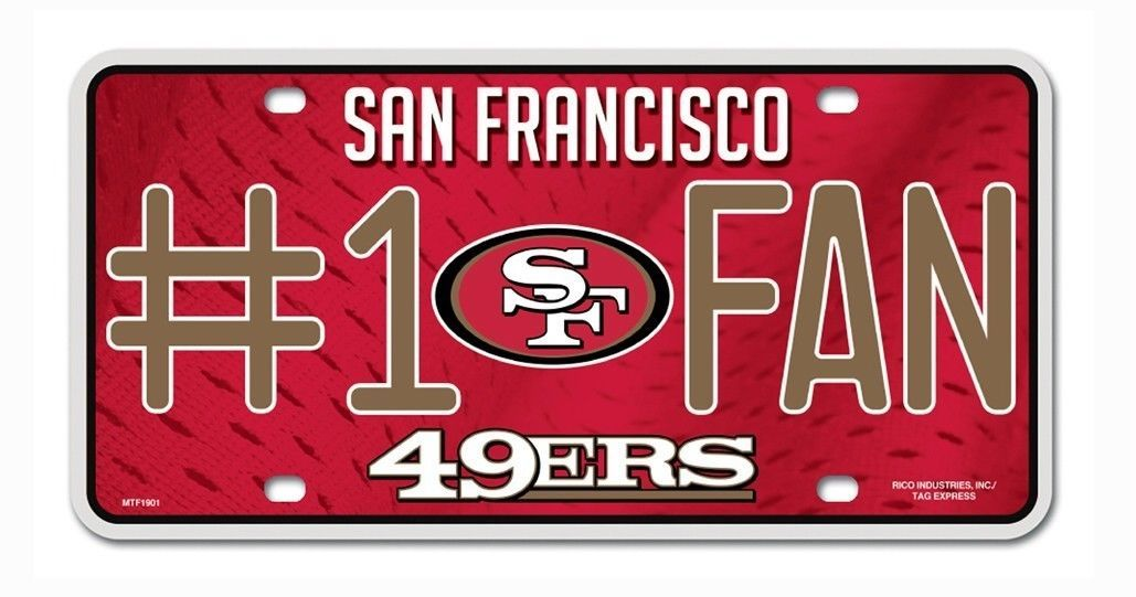 SAN FRANCISCO 49ERS #1 FAN CAR AUTO METAL LICENSE PLATE TAG NFL FOOTBALL
