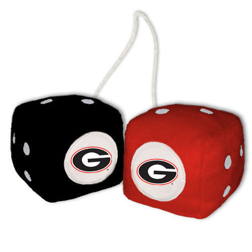 GEORGIA BULLDOGS PLUSH FUZZY DICE CAR MIRROR DANGLER NCCA COLLEGE