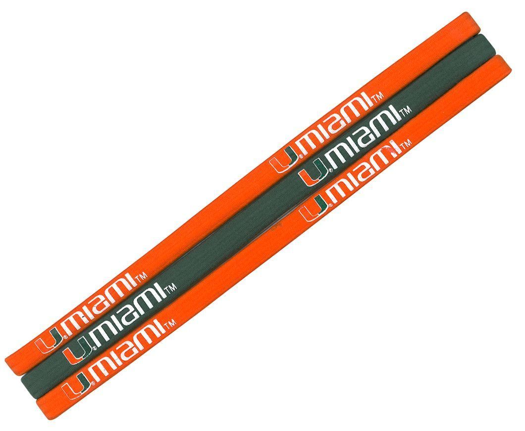 MIAMI HURRICANES Pack of 3 ELASTIC HAIR HEADBANDS TEAM LOGO NCAA