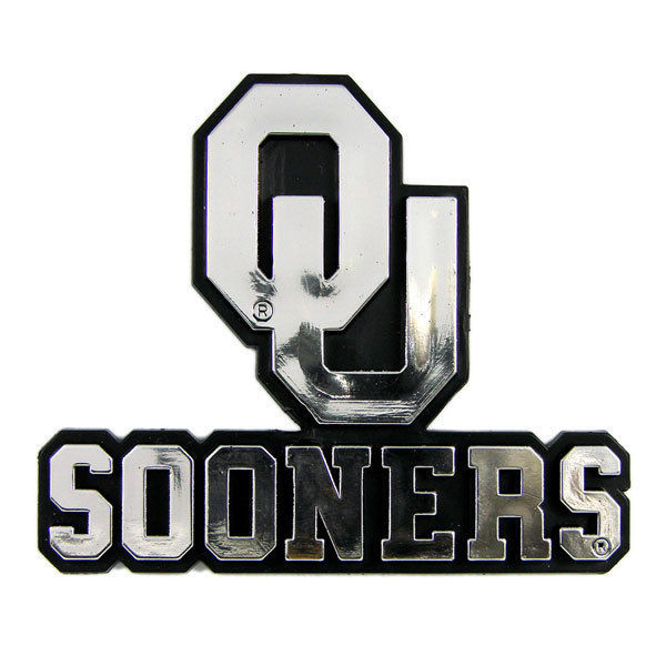 OKLAHOMA SOONERS CAR AUTO 3-D CHROME SILVER TEAM LOGO EMBLEM
