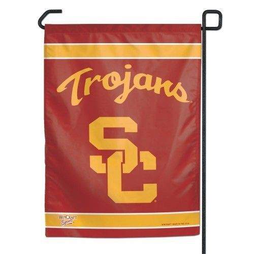 "USC TROJANS TEAM GARDEN YARD WALL FLAG BANNER 11"" X 15"""