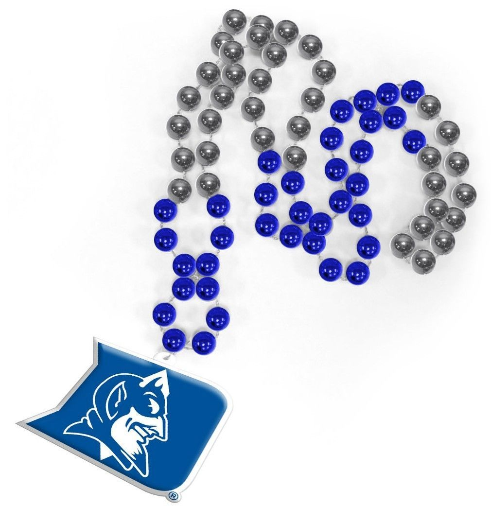 DUKE BLUE DEVILS MARDI GRAS BEADS with MEDALLION NECKLACE