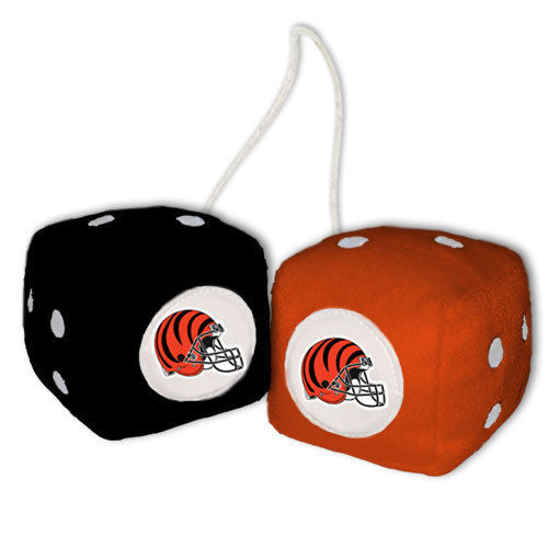 CINCINNATI BENGALS PLUSH FUZZY DICE CAR MIRROR DANGLER NFL FOOTBALL