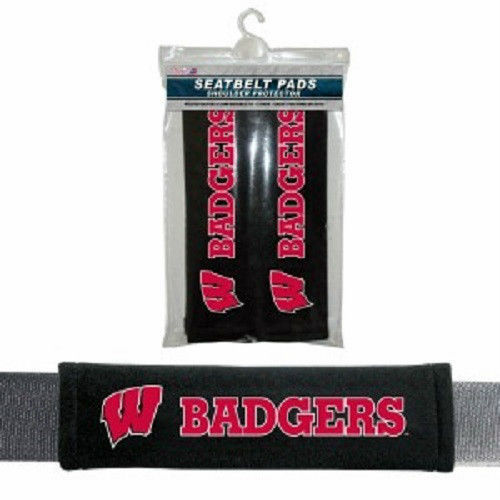 WISCONSIN BADGERS 2 VELOUR SEAT BELT LAPTOP GYM BAG SHOULDER PADS